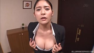 Asian cutie Meguri makes a kinky guy cum on her firm boobs