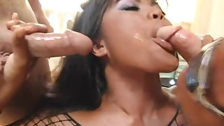Alluring Asian babe in fishnet lingerie swallows cum after sucking a cock hardcore