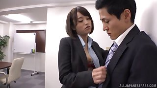 Mesmerizing Ayane finally gives a proper cock ride at the office