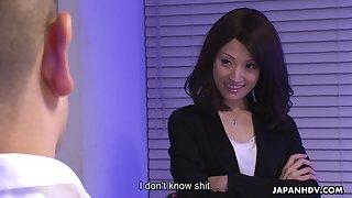 Perverted Asian employee Mitsuki sucks dick during a job interview