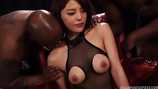 Asian babe Nanako Tsukishima likes when two guys please her pussy