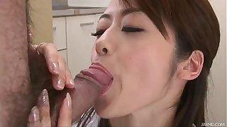 Japanese slut Maki Hojo sucks big cocks like a super whore
